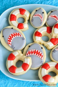 Haniela's: Shark Week Cookies, Shark Cookies and Life Ring Buoy