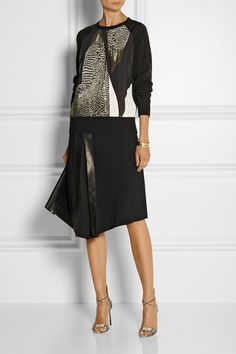 Reed Krakoff Printed crepe and shell top and skirt