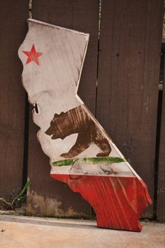 State of California Flag- Rustic/Stressed. $38.00, via Etsy.