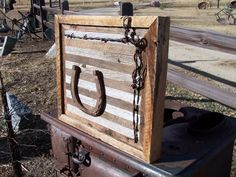 Wood Wall Art with Old Workhorse Horseshoe and Barbed Wire on Reclaimed Barn Wood Frame