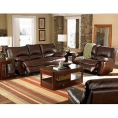 2pc Recliner Sofa & Loveseat Set in Brown Leather Match $1593.05