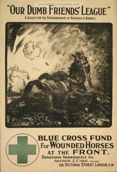 "WW1 British poster seeking donations for ""Blue Cross"" fund, in support of wounded horses from the battle front"