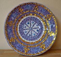 Purple and gold glass mosaic dish