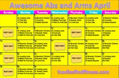 Awesome Abs and Arms April Challenge Calendar from Foodies Find Fitness! Great health and fitness blog!