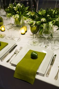 Green & White Tablescape by Colin Cowie
