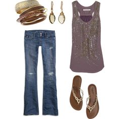A bit of summer glam and sparkle in a beaded tank, chunky bangles, and teardrop briolette drop earrings
