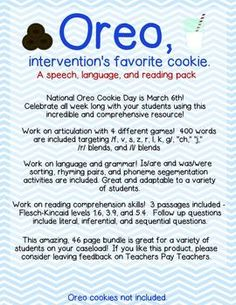 Oreo: Intervention activities for language, articulation,