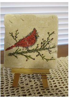 Stampin Up A Beautiful Season - Christmas Cardinal tile coaster #stampinup