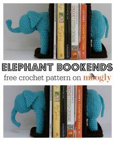Crochet Elephant Bookends! Free #crochet pattern from Mooglyblog.com