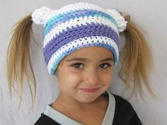 Audry's two pigtail beanie by snappytotscreations
