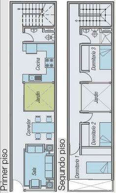 PLANOS DE CASA PARA TERRENO ANGOSTO Y LARGO 52.5 M2 EN 2 PISOS : Planos de casas y departamentos gratis
