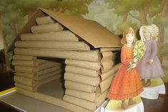 Log Cabin Out of Paper Bags (Little House on the Prairie Craft) from Learners in Bloom