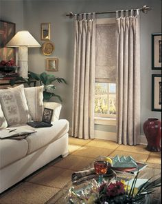 Roman Shades and curtains combo