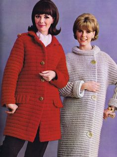 PDF of Minervas Red Coat Vintage Crochet Pattern, c. 1950s