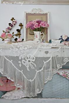 So beautiful! Antique lace and roses,,,love the lace