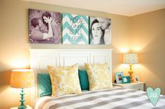 Wonderful Bedroom color tones, yellow, gray, turquoise, white. And fun display above bed with chevron canvas and photos. (these are my bedroom colors!) #BedroomColors #WallDecor