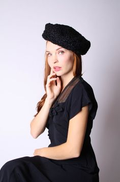 1950s Black Hat  50s Black Hat  1950s Hats  Vintage by aiseirigh, $72.00