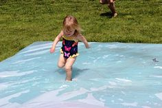 Water blob made with duct tape and plastic sheeting.