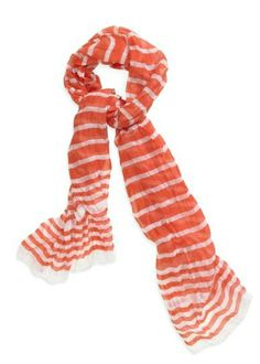 Coral Stripes Scarf