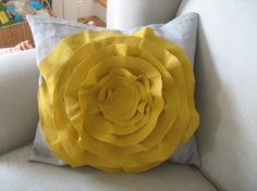 French Rose Pillow in Grey and Mustard Yellow: by dedeetsyshop on Etsy