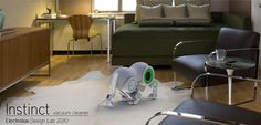 "Instinct Vacuum Cleaner by Berty Bhuruth. ""The Sheep-like Cleaner is a robotic vacuum cleaner concept that visualizes the room it has to clean in 3D and then charts its course of action."""