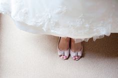 pink bow wedding shoes
