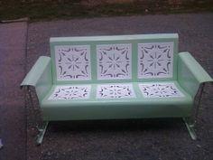 Vintage Metal Porch Patio Glider Restored by oldvintagefurniture, $1125.00