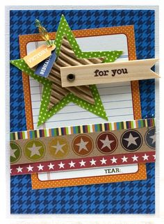 For You Card by Laina Lamb using Jillibean Soup's Game Day Chili papers and pea pod parts, corrugated shapes, baker's twine, sugar picks, and wooden flags (via Jillibean Soup blog).