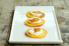 Fruit Appetizers with goat cheese and honey