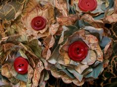 Paper Flowers Vintage Atlas Red Buttons by PaperPastiche on Etsy, $5.95