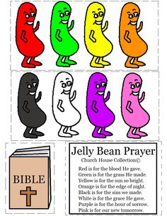 Jelly Bean Prayer Cutout Activity For Kids by Church House Collection©. Free Printable Template.  #Jelly #Beans #jellybeans #Easter #crafts
