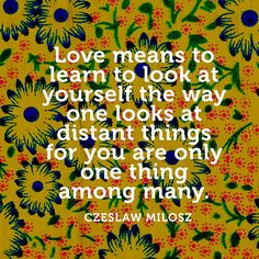 """""""Love means to learn to look at yourself /  The way one looks at distant things /  For you are only one thing among many."""" — Czesław Miłosz"""