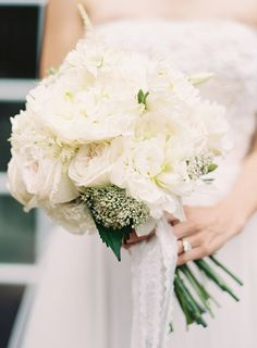 White roses, peonies, and baby's breath. Photo: Rylee Hitchner