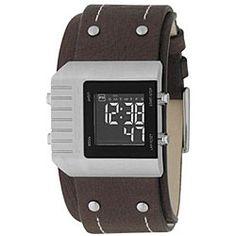 Fossil Men's Digital Brown Leather Cuff Watch