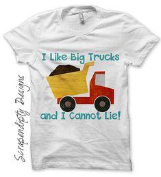 Boys Birthday Party Iron on Shirt PDF - Dump Truck Iron on Transfer / I Like Big Trucks Shirt / Kids Clothing Tshirt / Funny Kids Clothes IT236-C