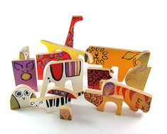 Vintage Mid-century Modern Wooden Animal Toy Blocks