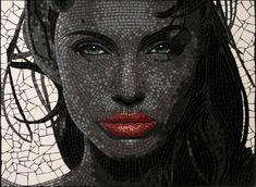 portrait of Angelina Jolie in mosaic tiles