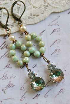 Nora. seafoam green beads,rhinestone drop earrings. Tiedupmemories