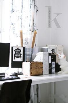 | Love this office room organization bins, buckets, etc. |