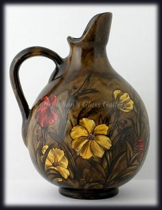 Antique Art Pottery Pitcher Hand Painted Red Yellow Flowers Dark from catisfaction on Ruby Lane