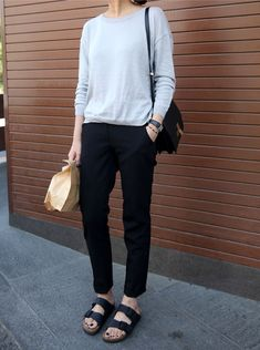 #beauty #style #fashion #woman #clothes #outfit #wearable #spring #gray #sweater #black #pants #sandals