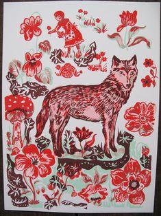 Natalie Lete 'Le Loup' art inspir, silk, nathali lete, fairies, hoods, screens, prints, wolf little red riding hood, illustr