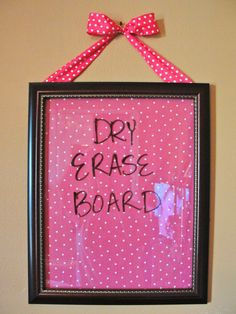 decorated picture frame as dry erase board