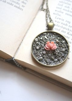 Natural Wonder Pyrite Necklace in Vintage Pink Rose by EclecticOrchid, $34.00