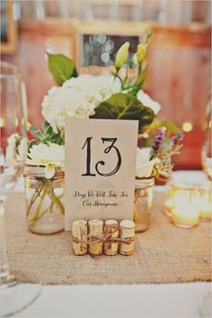 Use corks for table number signs ~ Cute! ~ other great ideas from Wedding Chicks