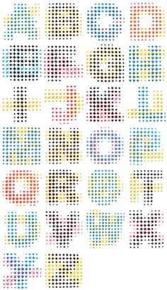 CMYK Alphabet - Evelin Kasikov, hand embroidered using a combination of two overlapping CMYK colors