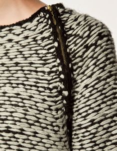 Jacquard sweater with zipper