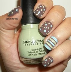 ☮✿★ NAILS ✝☯★☮ shower nail, sin color, brown nail, nail ideas, sinful colors, dot, color tape