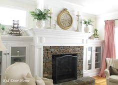 brick fireplace, built-ins, windows -- add drawers to the cabinet base, and this exactly what I want for our family room