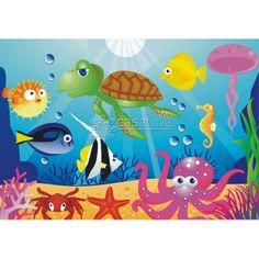Fotomural infantil de las criaturas del fondo del mar